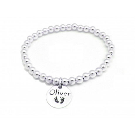 Sterling Silver Stretch Bracelet for Moms with Name Tag