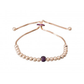 Rose Gold Silver LUXENTER Bracelet with Fuchsia Zirconia