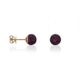 Rose Gold Silver LUXENTER Earrings with Fuchsia Zirconia