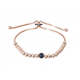 Rose Gold Silver LUXENTER Bracelet with Blue Zirconia