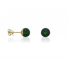 Gold Plated Silver LUXENTER Earrings with Green Zirconia