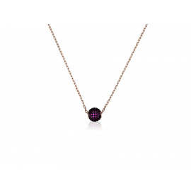 Rose Gold Silver LUXENTER Necklace with Fuchsia Zirconia