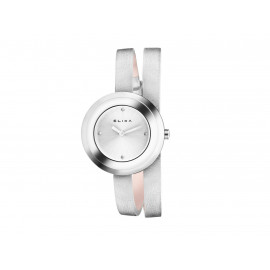 ELIXA Steel and Leather Wrist Watch E092-L352