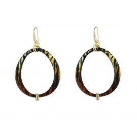 1AR Golden Drop Enamel Earrings