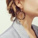 1AR Golden Drop Enamel Earrings