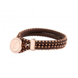 BRONZALLURE Leather Bracelet with Rose Studs