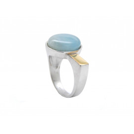Rhodium Silver and Gold Aquamarine Ring