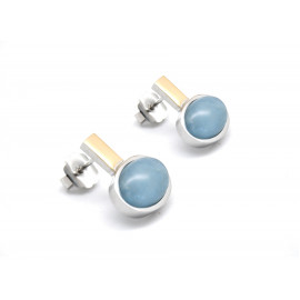 Rhodium Silver and Gold Aquamarine Earrings
