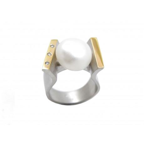 5524f38e376d Anillo Plata Rodiada Oro y Perla
