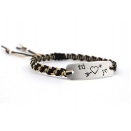 Sterling Silver Tag Macrame Bracelet for Men