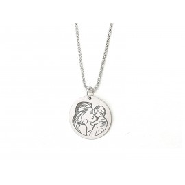 Rhodium Sterling Silver Mama Necklace