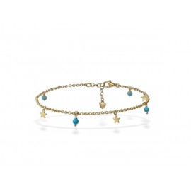 Turquoise Golden Silver Anklet with Stars
