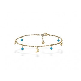 TTurquoise Golden Silver Anklet with Charms