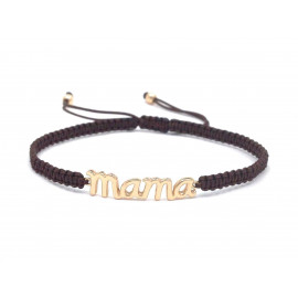 Gold Plated Silver Mama Macrame Wristbandt