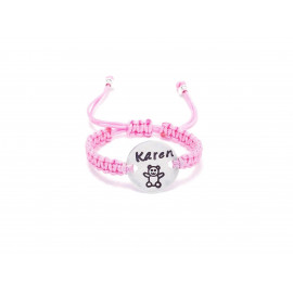 Customizable Sterling Silver Macrame Bracelet for Babies