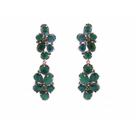 Rose Gold Silver Emeralds Drop Earrings