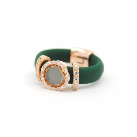 Rose Gold Plated Silver Green Silicone Ring