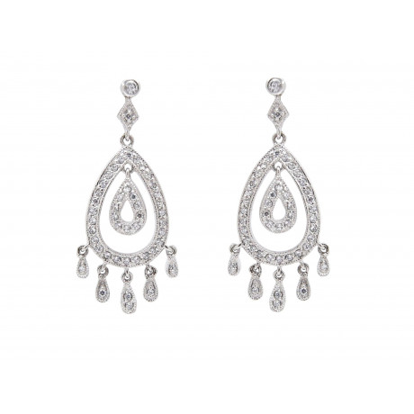 Rhodium Silver Bridal Drop Earrings