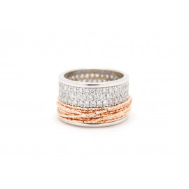 FRABOSO Rhodium & Rose Gold Plated ZC Silver Ring