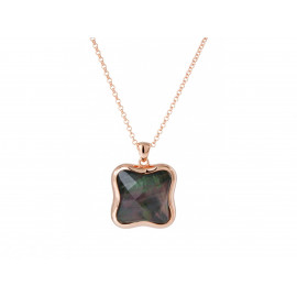 BRONZALLURE Rose Gold Mother of Pearl Pendant Necklace WSBZ00410