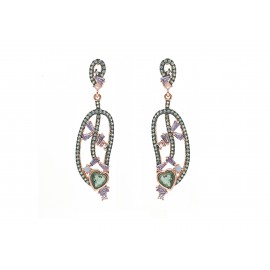 Rose Gold Silver Multi-Colour Earrings