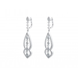 Rhodium Silver Bridal Dangle ZC Earrings