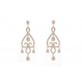 Rose Gold Silver Chandelier Bridal Earrings