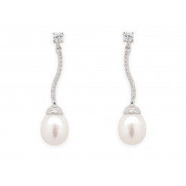 Silver Bridal Pearl Earrings