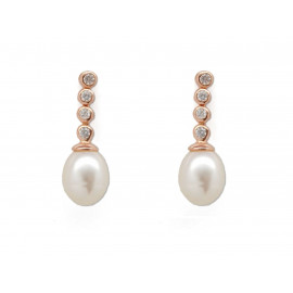 Rose Gold Silver Pearl Earrings