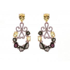 Rose Gold Silver Citrine & Topaz Earrings