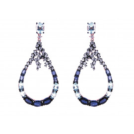 Rose Gold Silver Iolite & Topaz Earrings