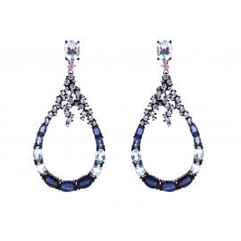 Rose Gold Silver Iolite & Topaz Earrings
