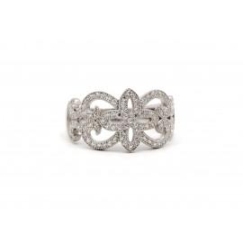 Rhodium Silver Filigree Zirconia Ring