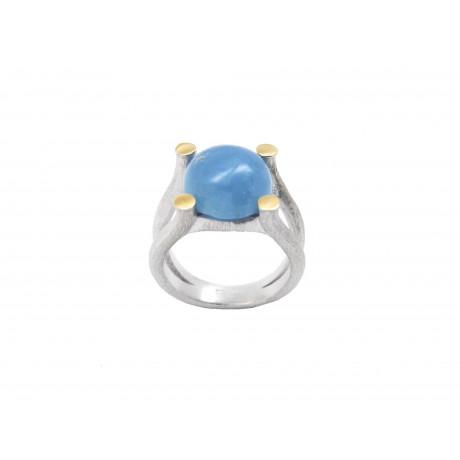 Rhodium Silver Aquamarine Ring