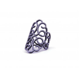 Ruthenium Silver Filigree ZC Ring