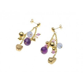 Gold Plated Silver Earrings with Semi Precious Stones