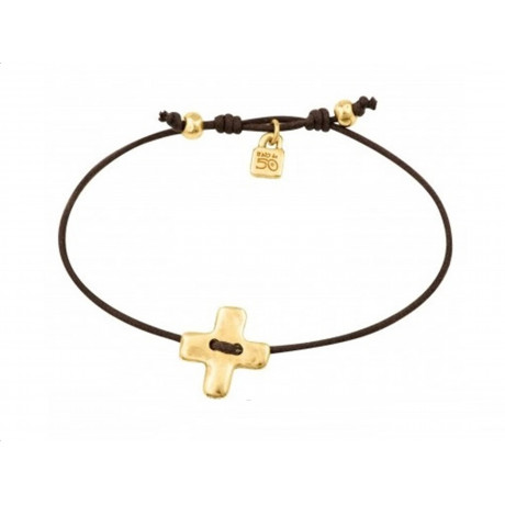 "UNO de 50 Gold ""Crossed"" Gold Bracelet PUL1298"