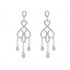 Rhodium Silver Chandelier Bridal Earrings